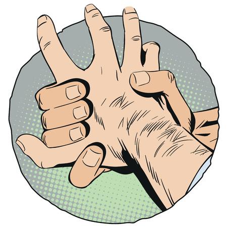 Stock illustration. Holding hand of criminal.