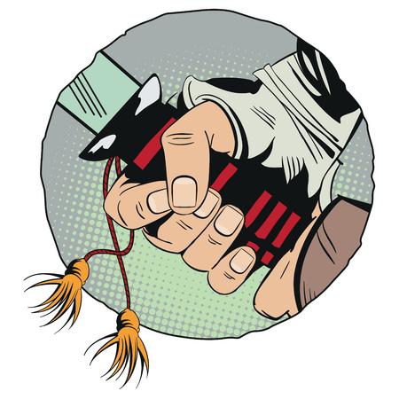 Stock illustration. Hands with a samurai sword. Illustration