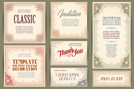 Vector set for creating advertisements, flyer, web, wedding  and other invitations or greeting cards. Happy holidays. Illustration