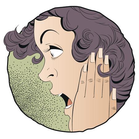 Stock illustration. Portrait of a surprised girl.
