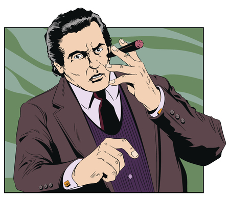 Stock illustration. Confident cool man with cigar.