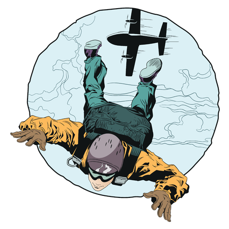 Stock illustration. Paratrooper in skydiving.
