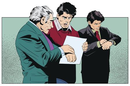 Stock illustration. Worried man looking at clock.