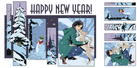 Stock illustration. People in retro style pop art and vintage advertising. Collage on theme christmas and new year. Çizim