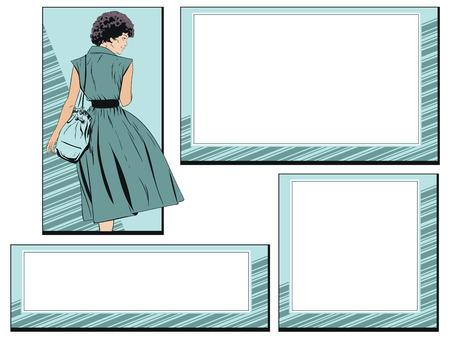 Stock illustration. Girl in summer dress and frames.