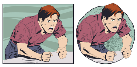 Stock illustration. Angry shouting man. Vector Illustration