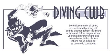Stock illustration. Scuba divers underwater.