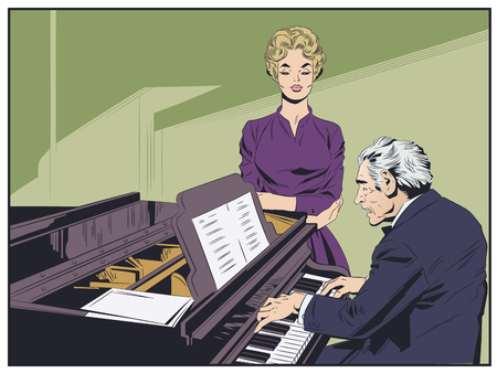 Stock illustration. Piano player performing music. Singer getting ready to sing. Vettoriali