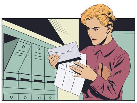 Stock illustration. Girl with letter. Illustration