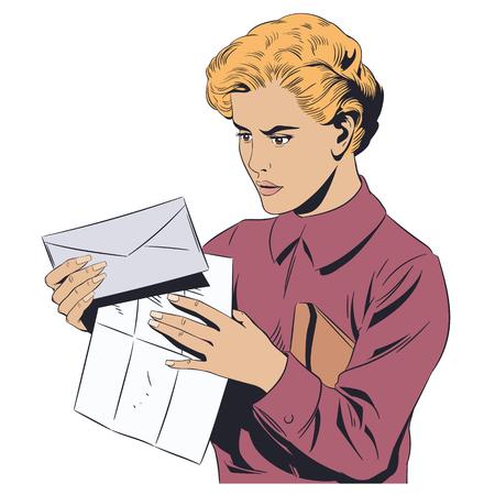 Stock illustration. Girl with letter. 向量圖像