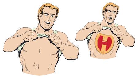 Stock illustration. Man acting like a superhero.