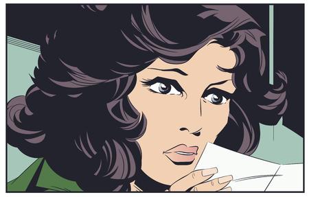 Stock illustration. Girl with letter.
