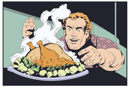Stock illustration. Fat man eating chicken.