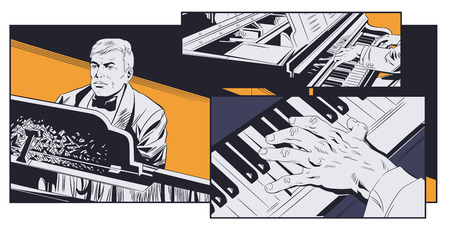 Stock illustration. Piano player performing music.