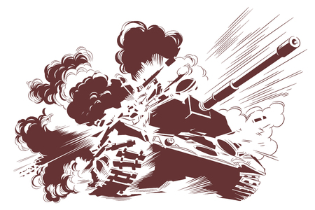 Vector. Stock illustration. Explosion of tank.