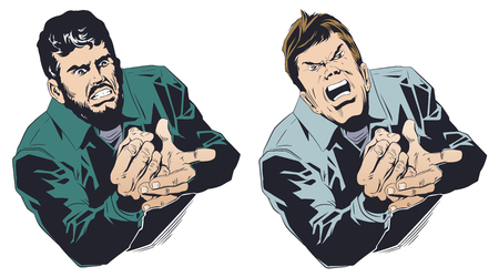 Stock illustration. Angry businessman bangs his fist on his palm.