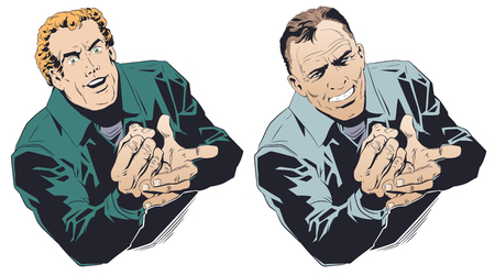 Stock illustration. Happy businessman bangs his fist on his palm.