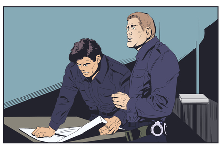 Stock illustration. Policeman at police station.