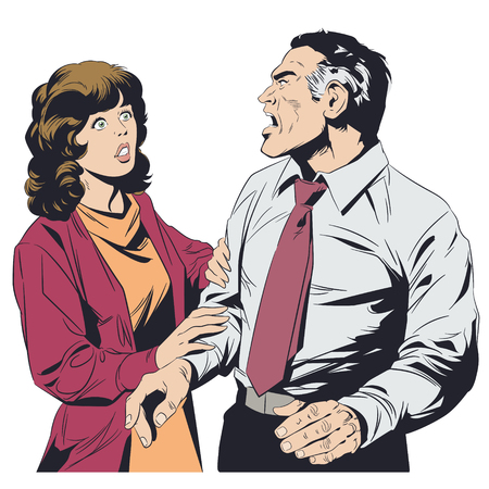 Stock illustration. Man shouts at woman.