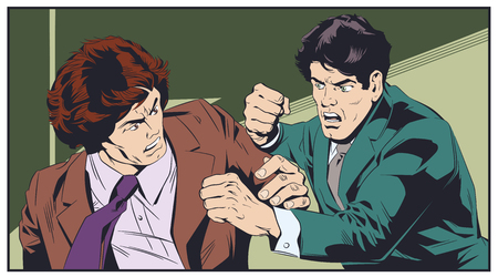 Stock illustration. Business concept of two businessmen fighting. Ilustração