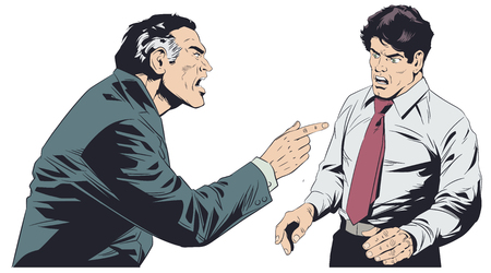 Stock illustration. Boss scolds subordinate. Illustration