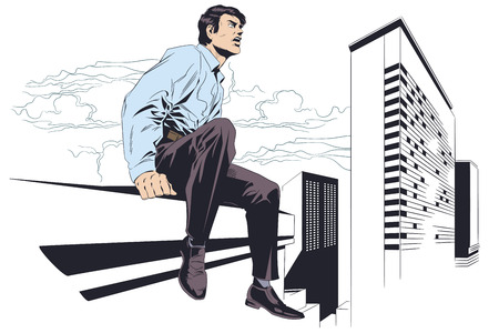 Stock illustration. Businessman sitting on rooftop. Happiness of freedom.