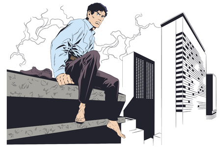 Stock illustration. Businessman sitting on rooftop. Happiness of freedom. Barefoot man.