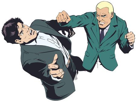 Stock illustration. Business concept of two businessmen fighting. Illustration