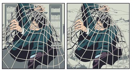 Stock illustration. Businessman caught by grid. Ilustrace