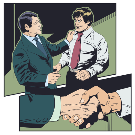 Stock illustration. Businessman congratulates colleague. Boss praises subordinate.