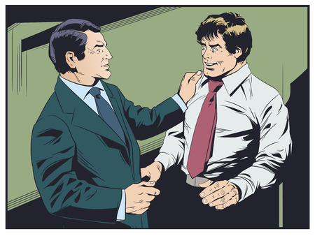 Stock illustration. Businessman congratulates colleague. Boss praises subordinate.