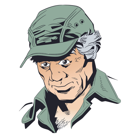 Stock illustration. Senior man with baseball cap.
