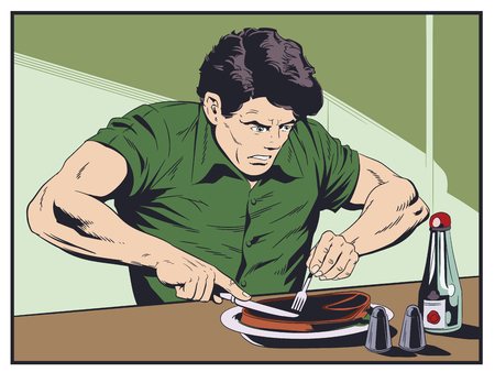 Stock illustration. Man trying cut meat.