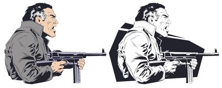 Stock illustration. Criminal with machine gun.