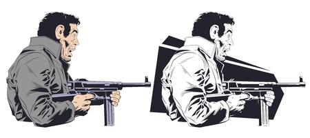 Stock illustration. Frightened man with machine gun.