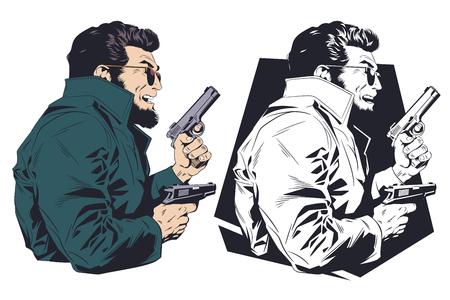 Stock illustration. Criminal with gun.