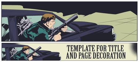 Stock illustration. Criminal with gun in car.