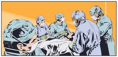 Stock illustration. Doctors in surgical masks. Operating room. Ilustración de vector