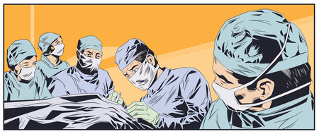 Stock illustration. Doctors in surgical masks. Operating room.