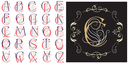 Vector set Monogram for creating advertisements, flyer, wedding and other invitations or greeting cards.