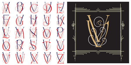 Vector set Monogram for creating advertisements, flyer, wedding and other invitations or greeting cards. Illusztráció