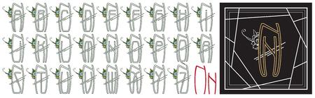 Conjunto de vectores Monograma para crear anuncios, folletos, bodas y otras invitaciones o tarjetas de felicitación.
