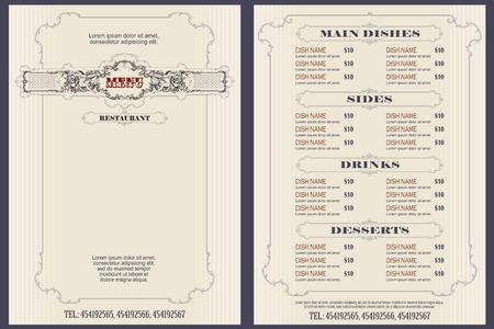 Czas ilustracja wektorowa. Szablon menu kawiarni lub restauracji.