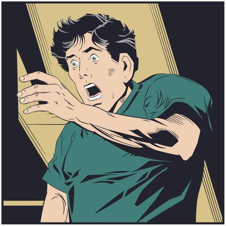 Stock illustration. Frightened man covering his face. Standard-Bild - 123563066