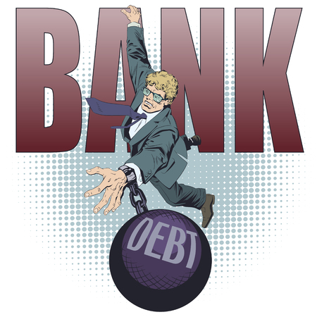 Stock illustration. Business man with debt. Vectores