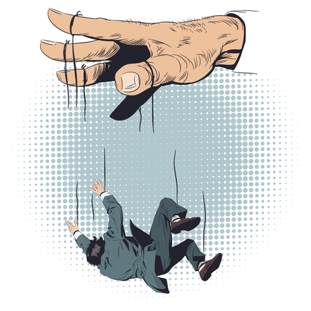 Stock illustration. Man fell from hands of puppeteer.