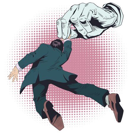 Illustrazione di riserva. Uomo nelle mani del burattinaio.