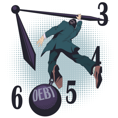 Stock illustration. Business man with debt.