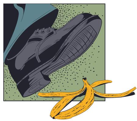 Voorraad illustratie. Voet, schoen die bijna over de bananenschil glijdt.