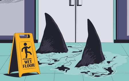 Stock illustration. Sharks swimming on wet floor. Warning sign.